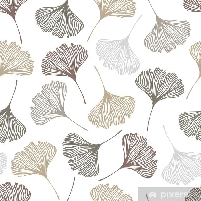 Fototapeta winylowa Kwiatowy wzór z liści ginkgo. ilustracji wektorowych. - Rośliny i kwiaty