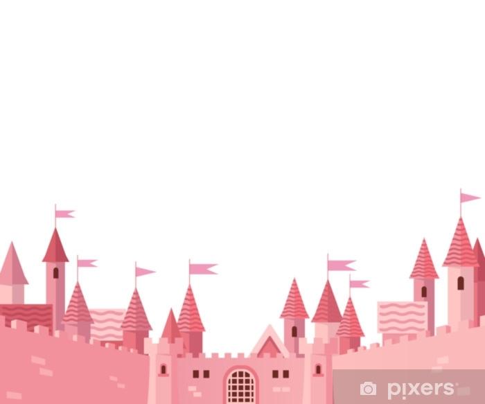 Sticker Pixerstick Cadre avec château rose. - Bâtiments et architecture