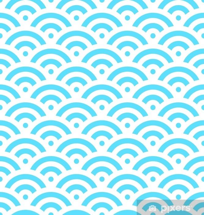 Mural de Parede Lavável Fundo de escala de peixe azul de círculos concêntricos. O padrão abstrato sem costura parece ondas do mar. ilustração vetorial. - Recursos Gráficos