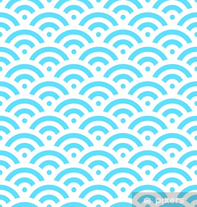 Blue fish scale background of concentric circles. Abstract seamless pattern looks like sea waves. Vector illustration. Washable Wall Mural - Graphic Resources