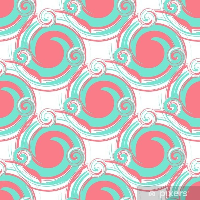 Naklejka na szafę Bez szwu abstrakcyjny wzór z dużych okrągłych elementów turkusu i różu. nowoczesny wzór tapety lub tkaniny. - Zasoby graficzne