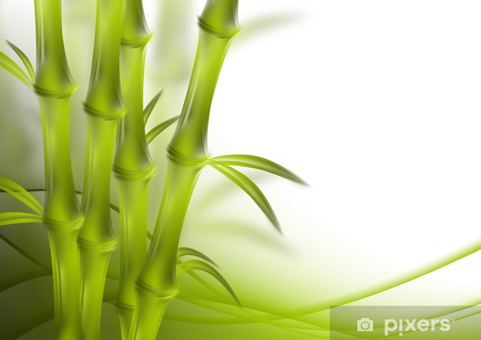 bamboo and abstract background green curves Vinyl Wall Mural - Plants