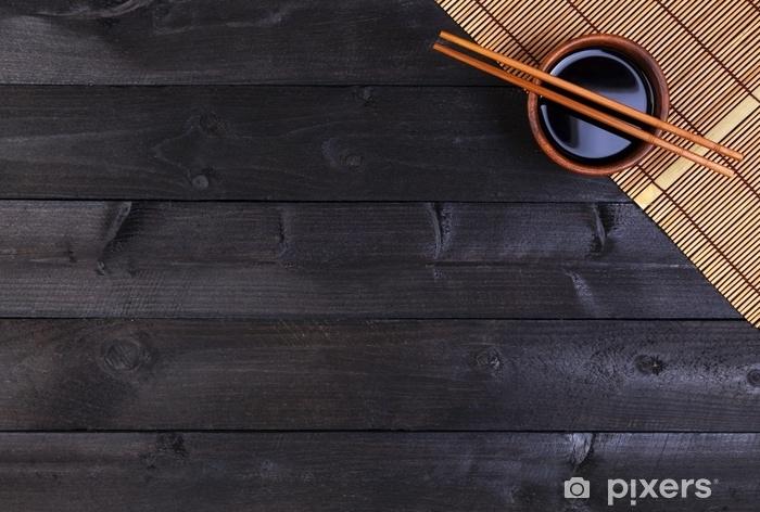 Fototapete Hintergrund Fur Sushi Bambusmatte Sojasosse Essstabchen