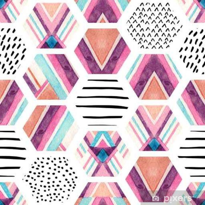 Fototapeta winylowa Akwarela sześciokąt szwu z geometrycznych elementów ozdobnych - Zasoby graficzne