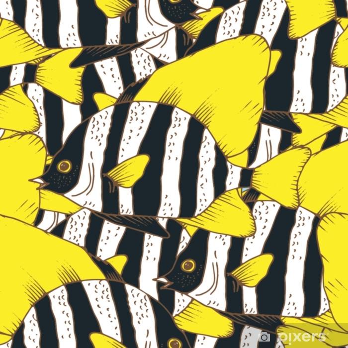 Afwasbaar Fotobehang Vector naadloze patroon met zebra vis, koraal vissen hand getrokken kleurrijke illustratie. schets met zwart en wit gestreept evervis, zeedier - Dieren