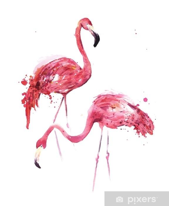 Papier peint vinyle Flamants aquarelles - Animaux