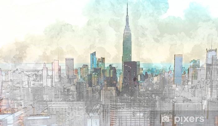 Pixerstick Sticker Schets van de skyline van Manhattan skyline - Grafische Bronnen