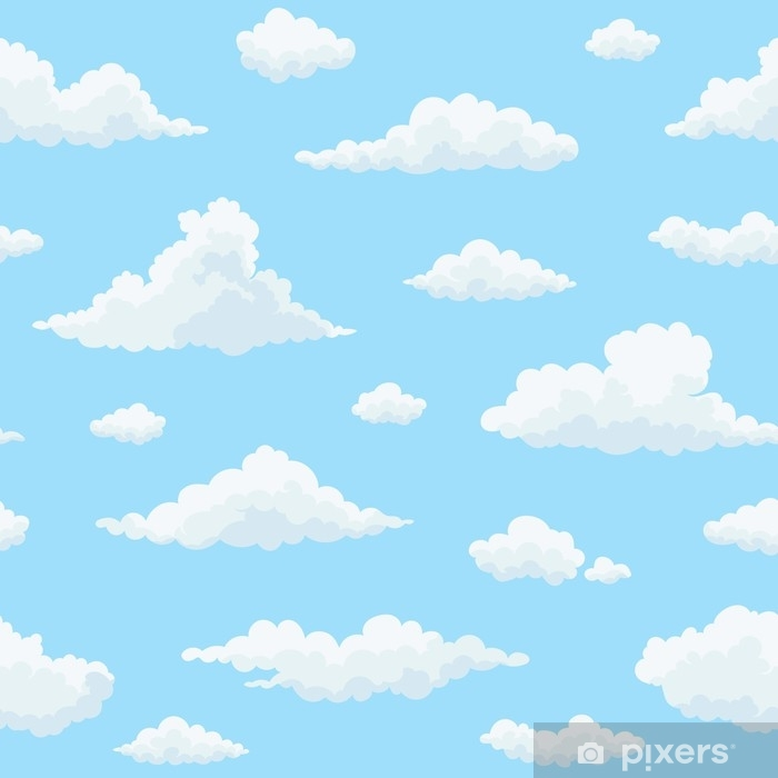 Wall Mural - Vinyl Cloud vector seamless pattern  White clouds on blue sky   Repeat print