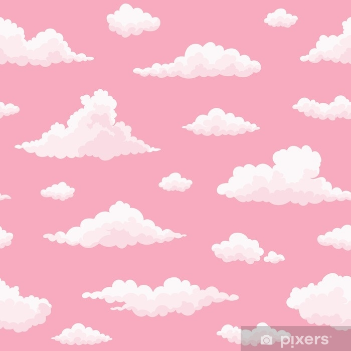 Cloud Vector Seamless Pattern White Pink Clouds On Pink