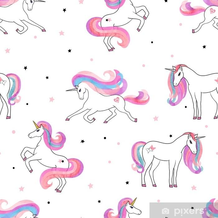 Carta Da Parati Lavabile Per Bambini.Carta Da Parati Lavabile Bellissimo Modello Di Unicorni Senza Soluzione Di Continuita Vector Sfondo Magico Per La Progettazione Di Bambini
