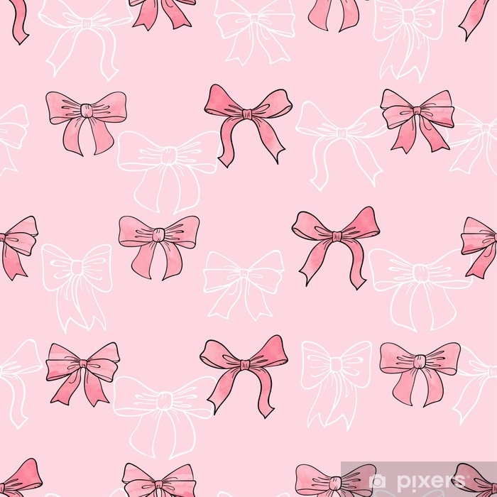 Seamless watercolor bows pattern in pink color. Vector background. Self-Adhesive Wall Mural - Graphic Resources