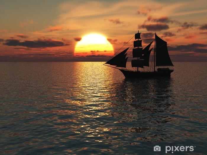 Fototapeta winylowa Statek na morzu o zachodzie słońca. - Tematy