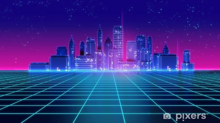 Fototapeta winylowa Retro futurystyczny wieżowiec miasta 1980 roku styl 3d ilustracji. - Budynki i architektura