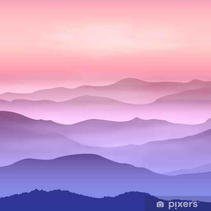 Poster Hintergrund mit Bergen im Nebel. Sonnenuntergangzeit. - Landschaften
