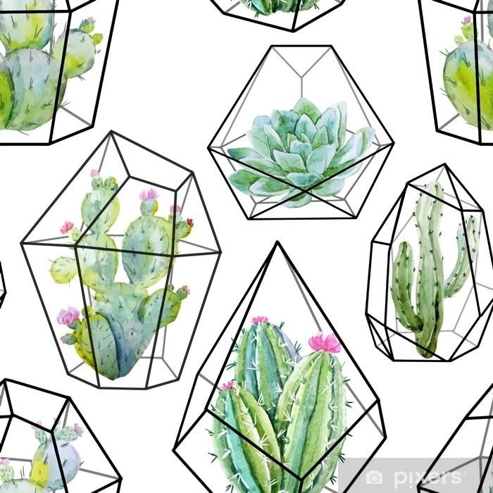 Fototapeta winylowa Akwarela wektor wzór kaktusa - Rośliny i kwiaty