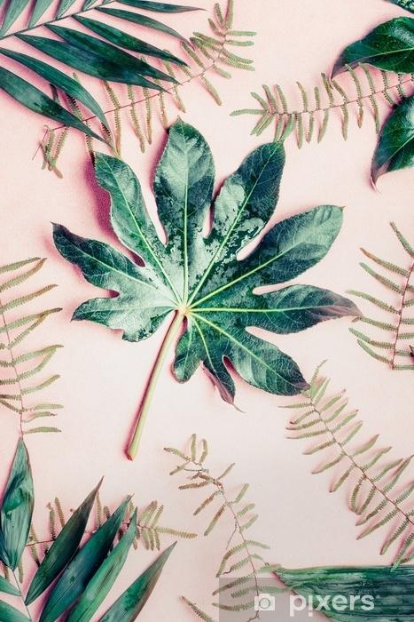 Fototapeta winylowa Kreatywne mieszkanie leżał z różnych liści tropikalnych palm na pastelowym różowym tle, widok z góry - Rośliny i kwiaty