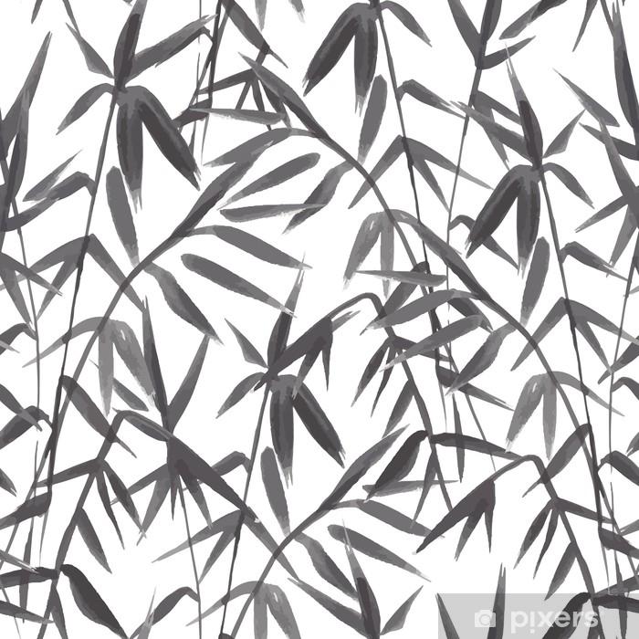 Fotomural Patrón transparente de bambú sobre fondo verde en estilo ...
