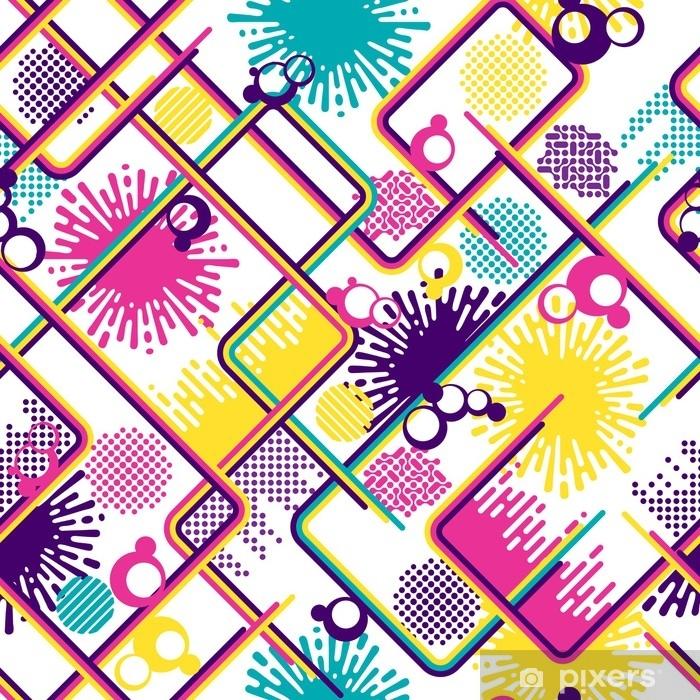 5619cc5fdd7111 Fotobehang - Vinyl Abstract geometrisch naadloos patroon in retro  disco-stijl met lijnen, rondes, spatten, stippen. felle kleuren op witte  achtergrond. voor ...