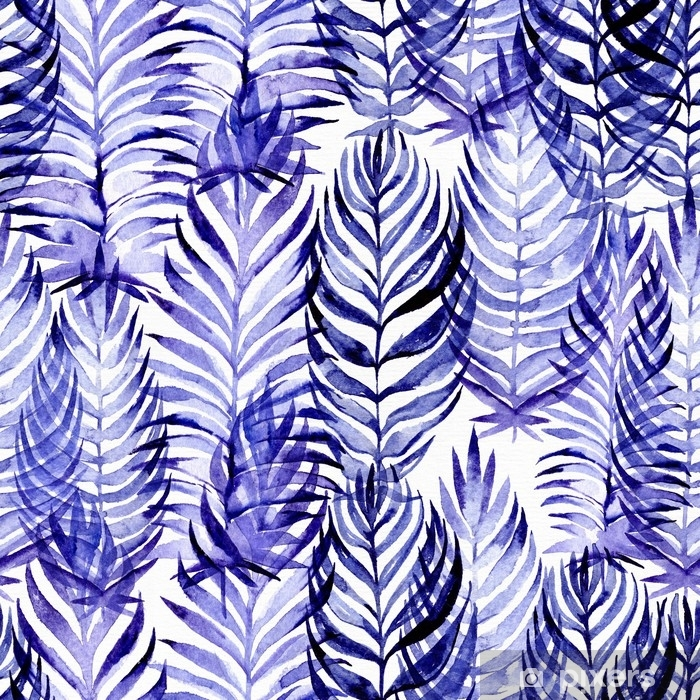 Hand drawn seamless pattern with blue palm leaves, drawn with purple and blue watercolor and brush. Leaves in different sizes and shapes. Large raster illustration, good for textile, print design Vinyl Wall Mural - Plants and Flowers