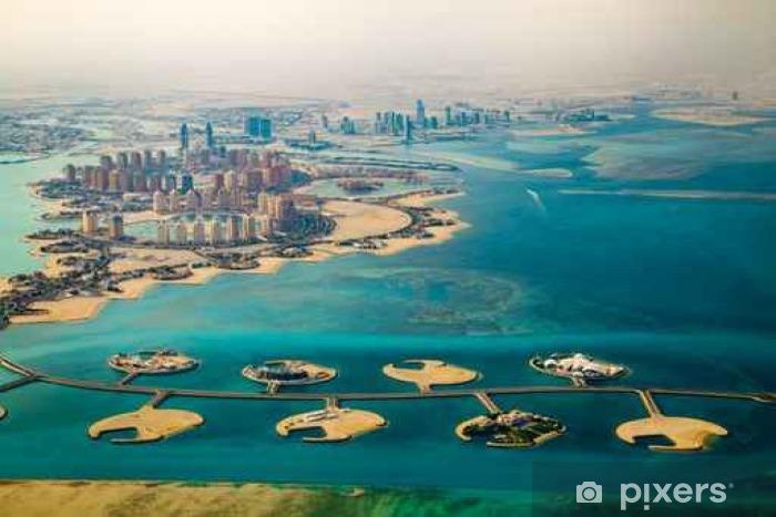 Naklejka Pixerstick Zdj? Cie lotnicze z miasta Doha, stolica Kataru - Podróż