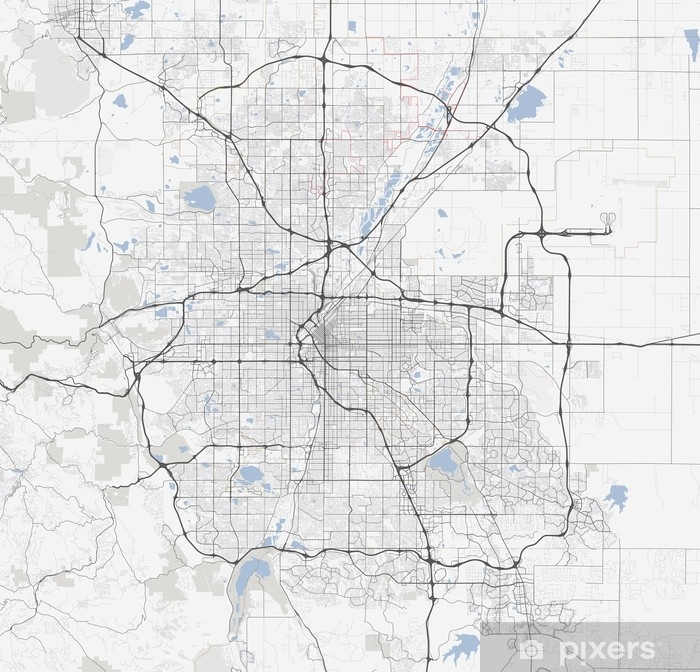 Colorado Karte.Fototapete Karte Denver Stadt Colorado Straßen