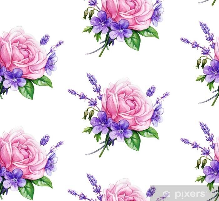 Nálepka Pixerstick Bezešvé vzorek s růží a levandule 1 - Grafika