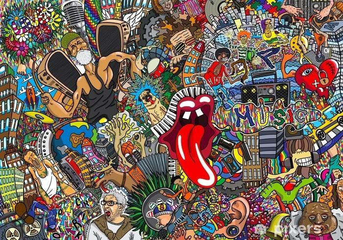 Carta da parati autoadesiva collage di musica su un grande for Carta da parati muro di mattoni