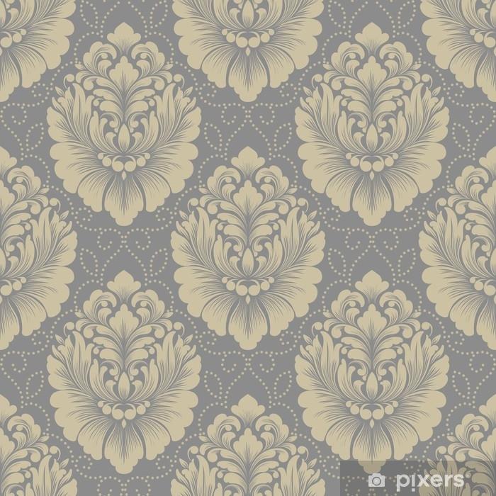 Nálepka Pixerstick Vektorové damaškové bezešvé vzorek pozadí. klasický luxusní staromódní damaškový ornament, královská viktoriánská bezproblémová textura pro tapety, textil, obal. nádherná květinová barokní šablona - Grafika