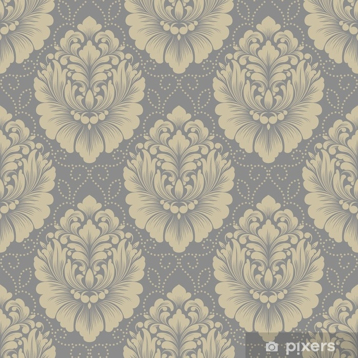Pixerstick Sticker Vector damast naadloze patroon achtergrond. klassieke luxe ouderwetse damast ornament, Koninklijke Victoriaanse naadloze textuur voor achtergronden, textiel, onmiddellijke verpakking. prachtige bloemen barokke sjabloon - Grafische Bronnen