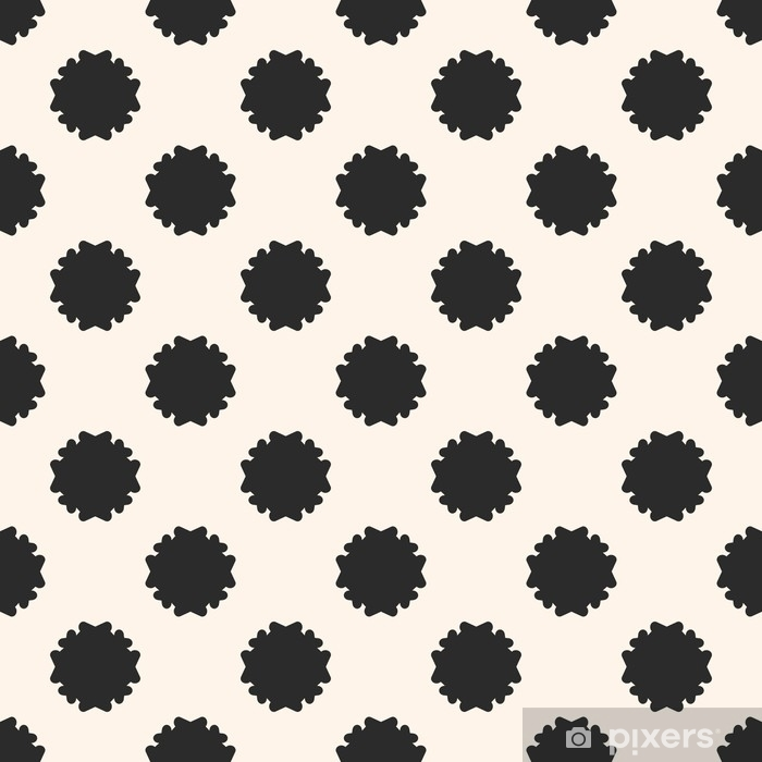 Vector Seamless Pattern Simple Floral Geometric Texture Black Staggered Flower Silhouettes On White Background Abstract Backdrop Repeat Tiles Old