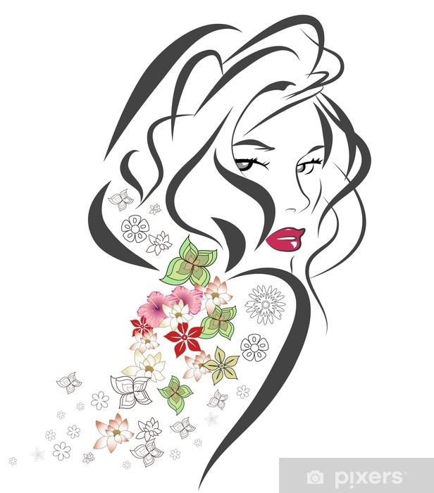Silhuet af kvinde med blomster Selvklæbende fototapet -