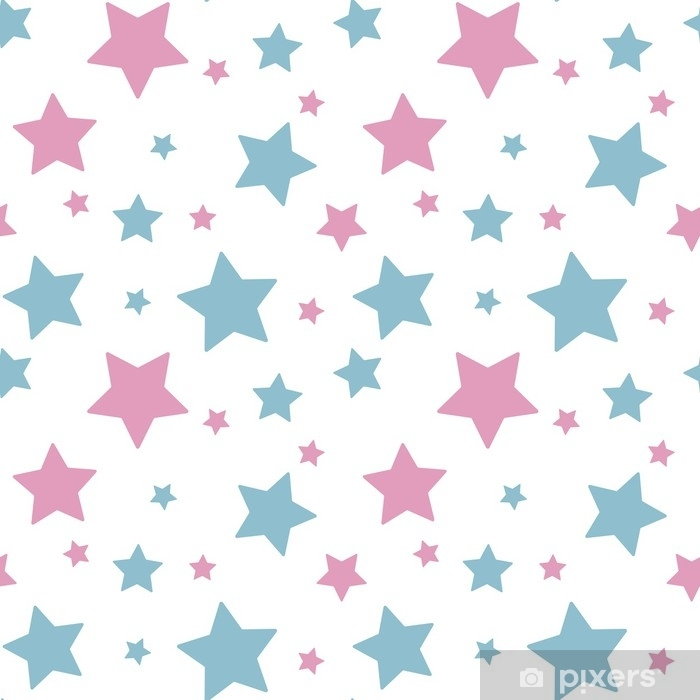 pastel colorful star pink blue on white background pattern seamless vector Poster - Graphic Resources