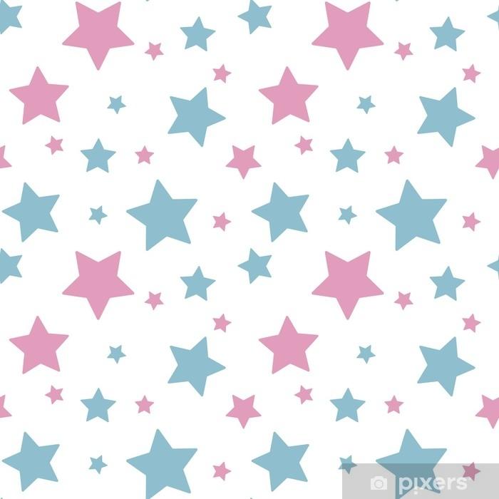 Poster Pastel kleurrijke ster roze blauw op witte achtergrond patroon naadloze vector - Grafische Bronnen