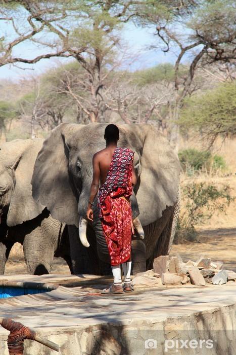 Pixerstick Aufkleber Masai Wache und wilde Elefanten. - Afrika