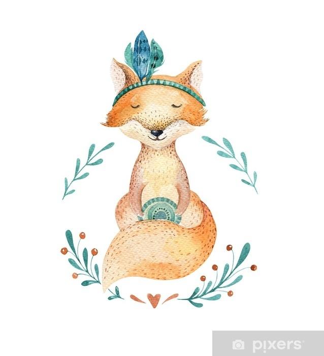 Vinilo Pixerstick Animal lindo del zorro del bebé para la guardería, ilustración aislada guardería para la ropa de los niños, modelo. imagen boho dibujada a mano y acuarela perfecta para el diseño de cajas de teléfono, carteles de guardería, tarjetas postales. - Animales