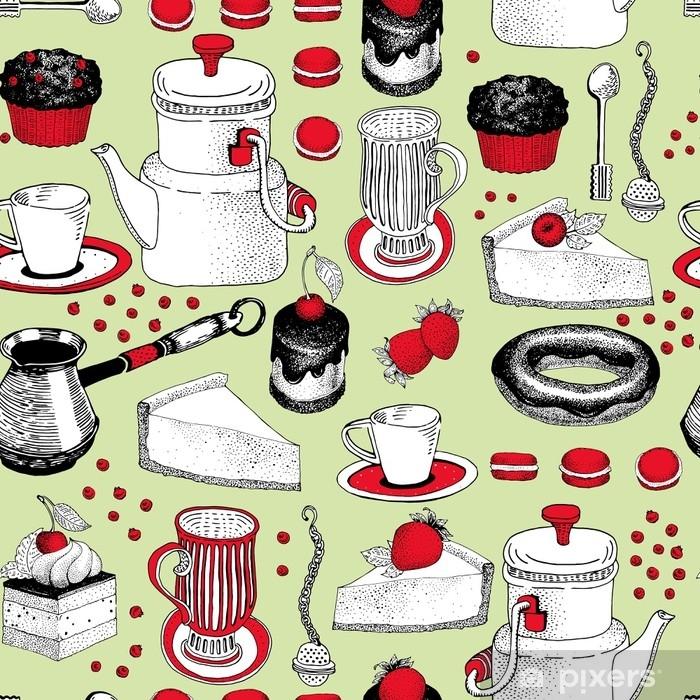 31bff3b2 Fototapet av vinyl Vektor sømløs mønster med hånd trukket te og kaffe og dessert  illustrasjoner.