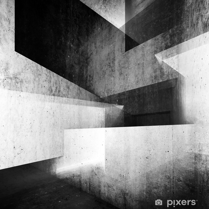 Abstract white concrete interior background 3 d Pixerstick Sticker - Buildings and Architecture