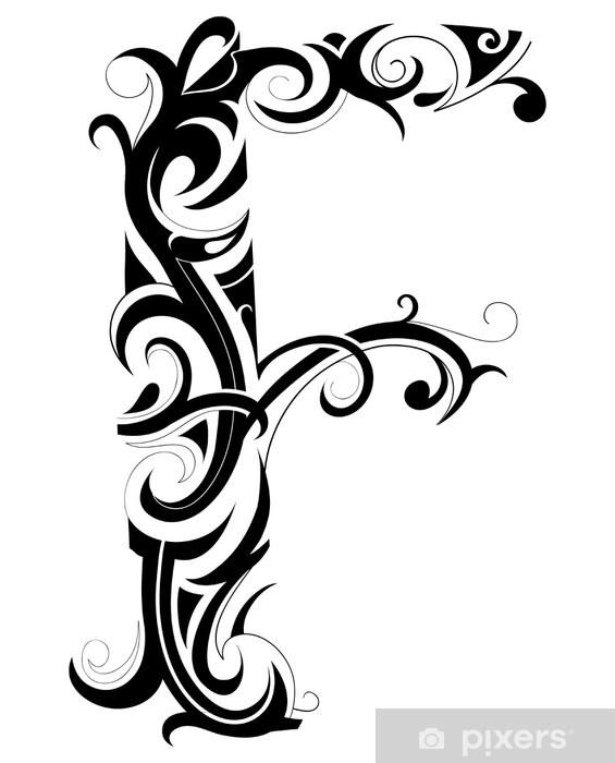 Nálepka Pixerstick Dekorativní F dopis - Abstraktní