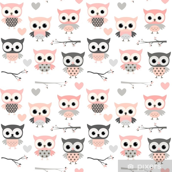 Cute vector seamless pattern with cartoon owls, hearts and branches in pink and grey colors for girl clothing, scrapbooking and nursery decor Self-Adhesive Wall Mural - Animals