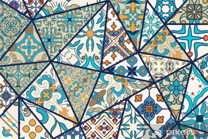 Vector decorative background. Mosaic patchwork pattern for design and fashion Pixerstick Sticker - Graphic Resources
