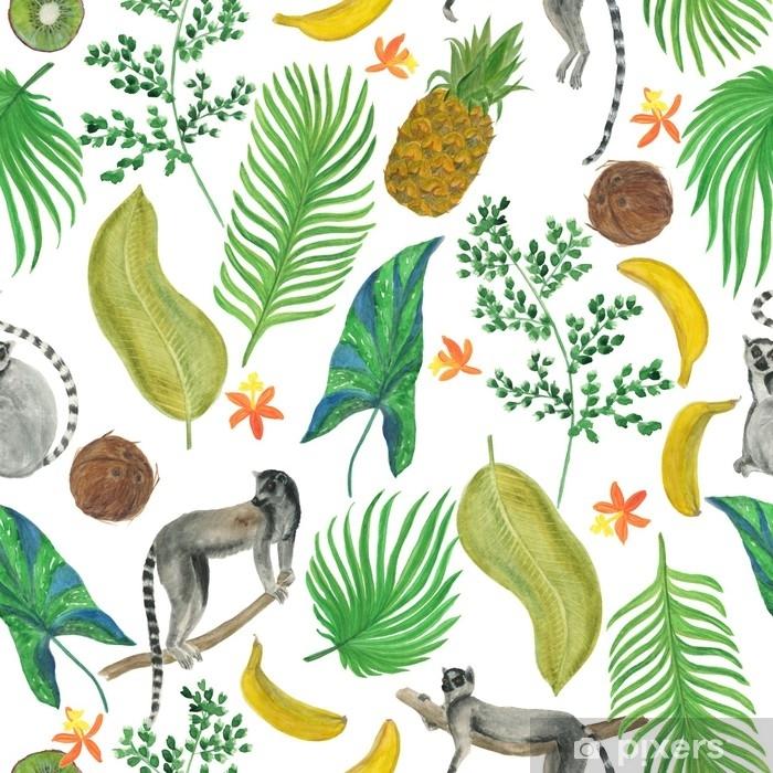Tropik Cicekler Yapraklar Meyveler Ve Lemurlar Ile Suluboya