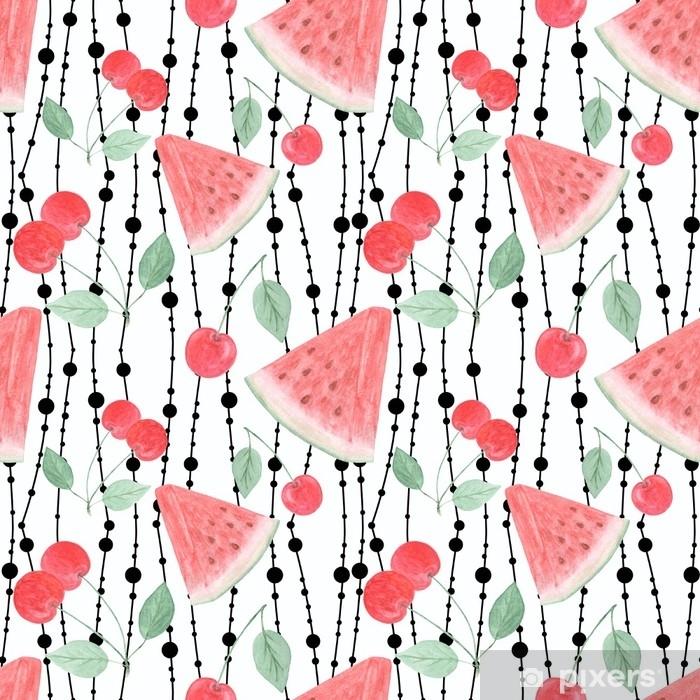 Poster Aquarellfruchtmuster die Scheiben der Wassermelone, Kirschen im Hintergrund. - Grafische Elemente