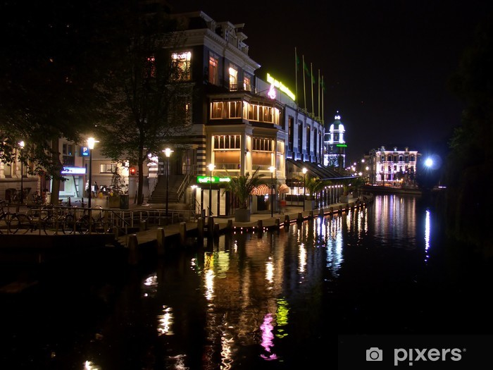 Vinyl-Fototapete Amsterdam bei Nacht - Europa