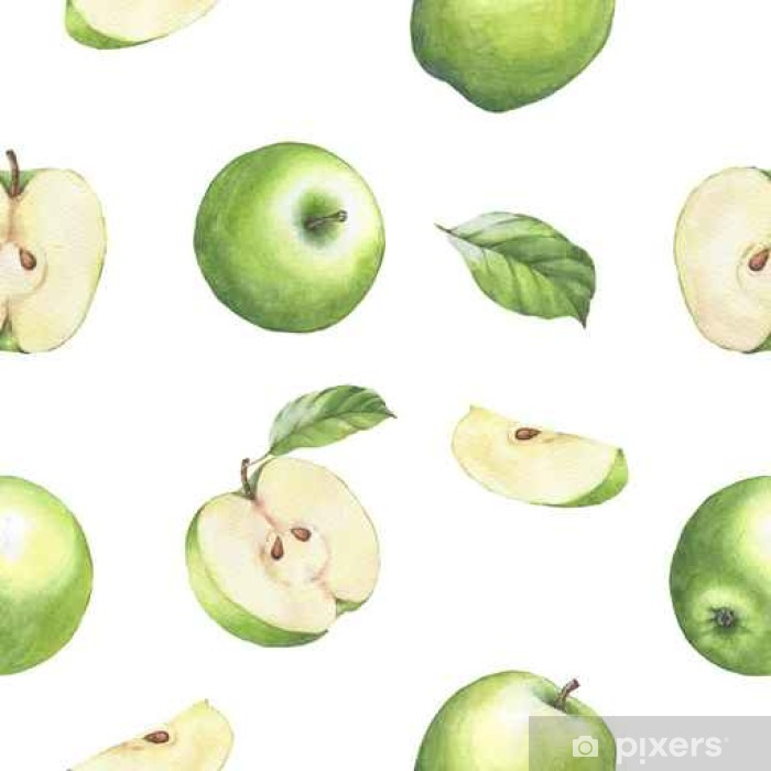 Hand drawn seamless pattern with watercolor green apples. Apples and leaves on the white background. Poster - Graphic Resources