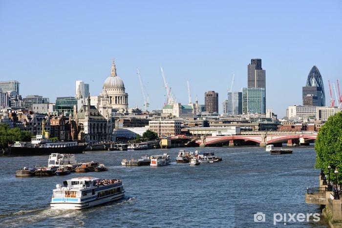 Vinyl Fotobehang Uitzicht over de Thames, Londen, Engeland, Verenigd Koninkrijk naar St Pauls Cathedral - Europese steden