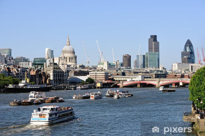 View over Thames, London, England, UK to St Pauls Cathedral Vinyl Wall Mural - European Cities