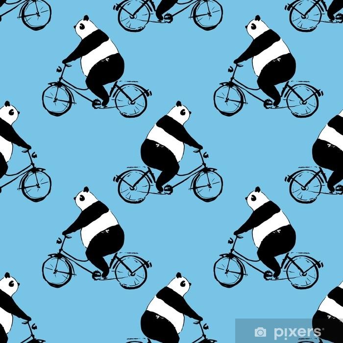 Naklejka na szybę i okno Wzór z Miś panda na rowerze. czarno-biały obraz na niebieskim tle - Zwierzęta