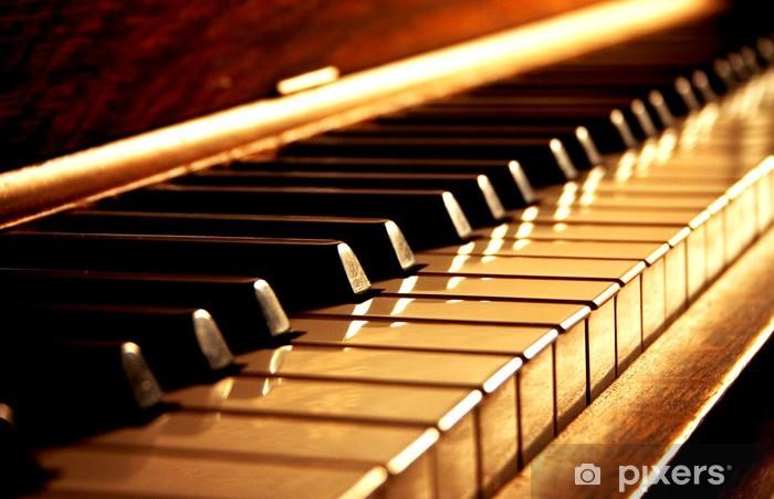 Papier peint vinyle Clés de piano d'or - Jazz