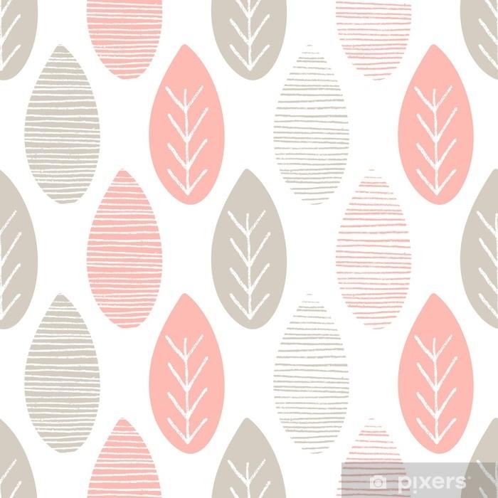 Fotomural Estándar Patrón de vector de naturaleza pastel transparente. hojas grises y rosadas con líneas y ramitas sobre fondo blanco. ornamento de primavera abstracto dibujado a mano - Recursos gráficos