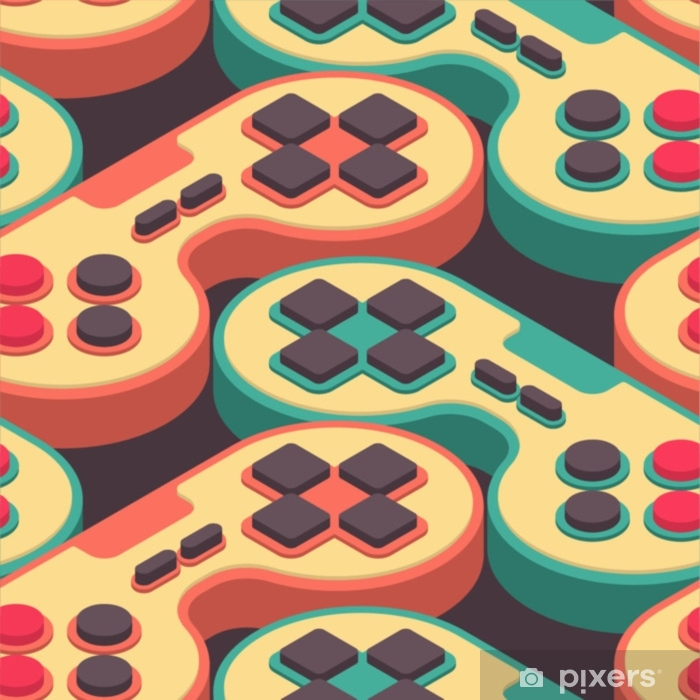 Vinyl Fotobehang Joystick retro naadloos patroon. gampad game console 8 bit textuur. retro video game control achtergrond - Hobby's en Vrije tijd
